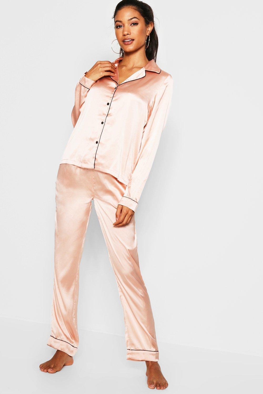 0e4651c4 Boohoo - Pink Contrast Piping Button Down Satin Set - Lyst. View fullscreen