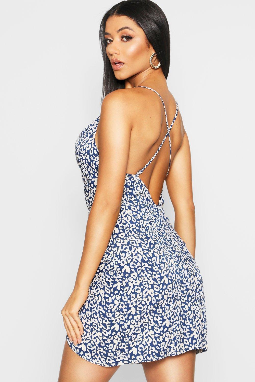 Boohoo Satin Strappy Leopard Print Mini Slip Dress in Black - Lyst c8e0de67c