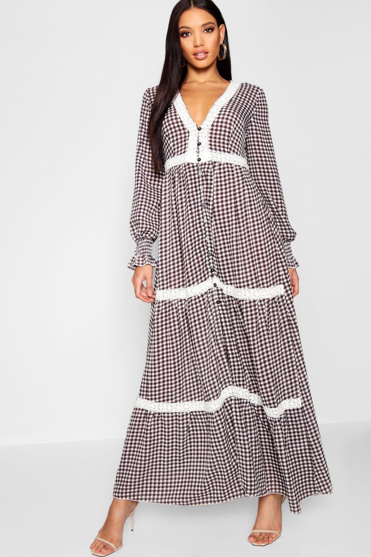 d54da80550ae4 Boohoo Plunge Shirred Sleeve Gingham Maxi Dress in Black - Lyst