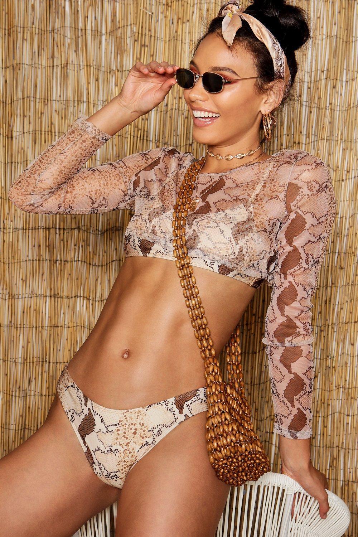 0701470014ff9 Boohoo Snake Three Piece Bikini Set - Lyst