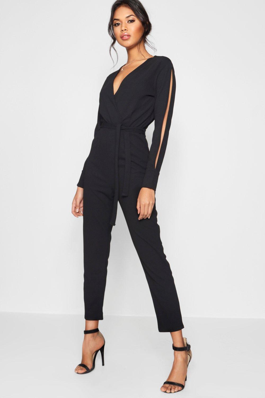 5778eceb340a Lyst - Boohoo Split Sleeve Wrap Over Smart Jumpsuit in Black