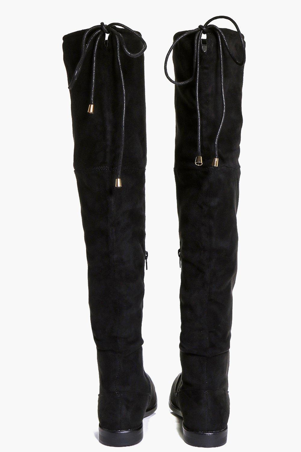 Boohoo Synthetic Tie Back Flat Over The Knee Boots in Black