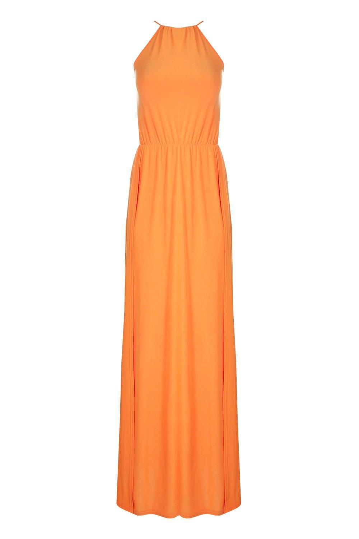 43decf8ce11932 Boohoo Petite Amy Halterneck Split Leg Slinky Maxi Dress in Orange ...