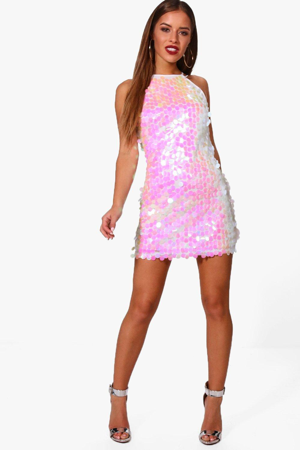 dd3c31ac7a0 Lyst - Boohoo Petite Sarah Iridescent Disk Sequin Dress in White