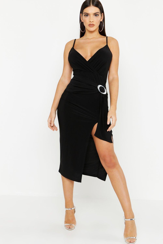 Lyst - Boohoo Slinky Draped Buckle Midi Dress in Black ae4888f43