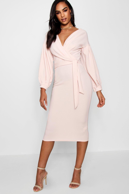 9fce99b3eb2a Boohoo Tall Off The Shoulder Wrap Midi Bodycon Dress in Pink - Lyst