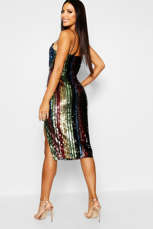 adbec9bc479a Boohoo Rainbow Sequin Plunge Neck Midi Dress in Black - Lyst