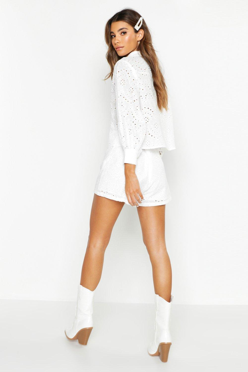 e1495590be50 ... Broderie Anglaise Shirt + Short Co-ord - Lyst. View fullscreen