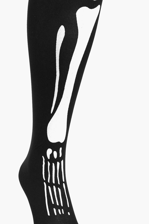Lyst Boohoo Leila Halloween Skeleton Legs Tights In Black