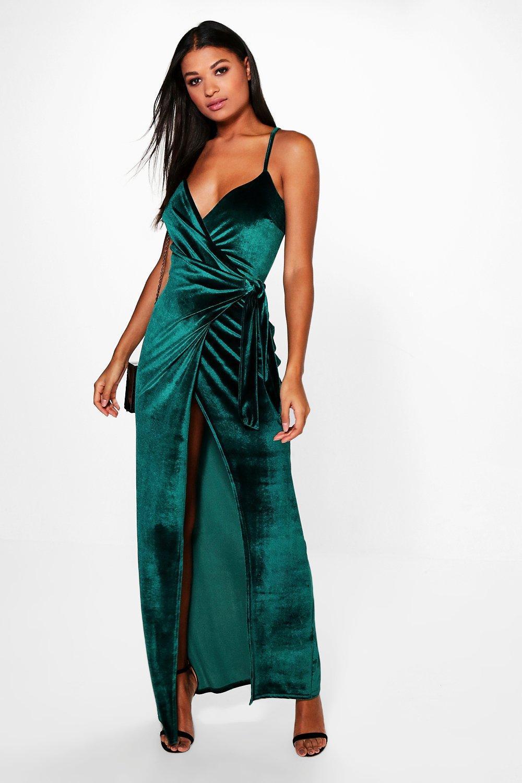 Emerald green velvet maxi dress