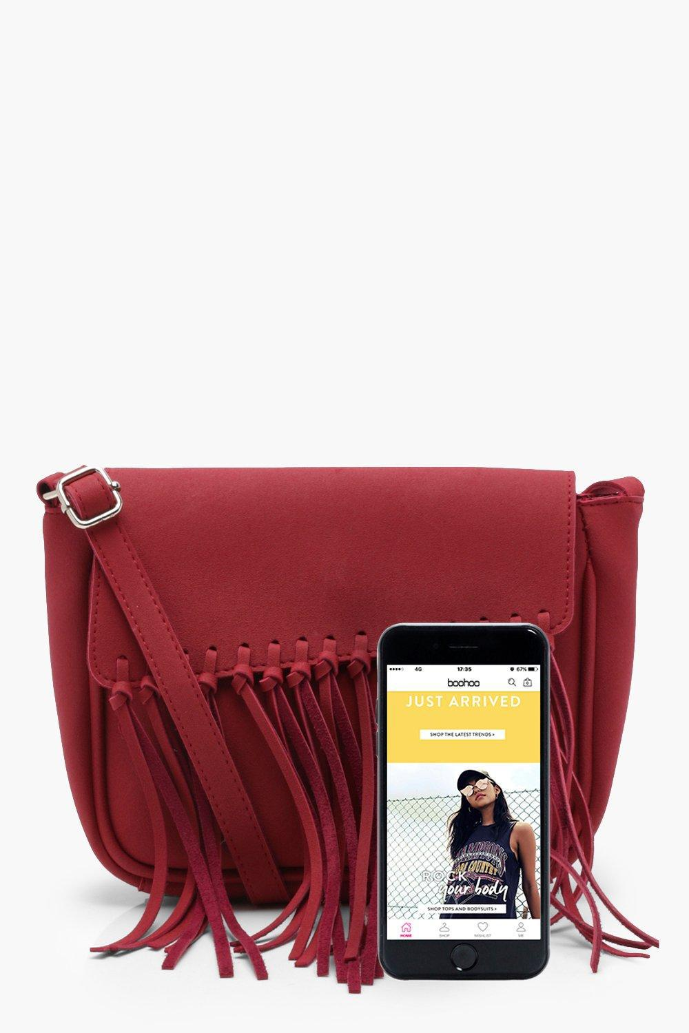 Boohoo Mia Knot Fringe Suedette Cross Body in Red