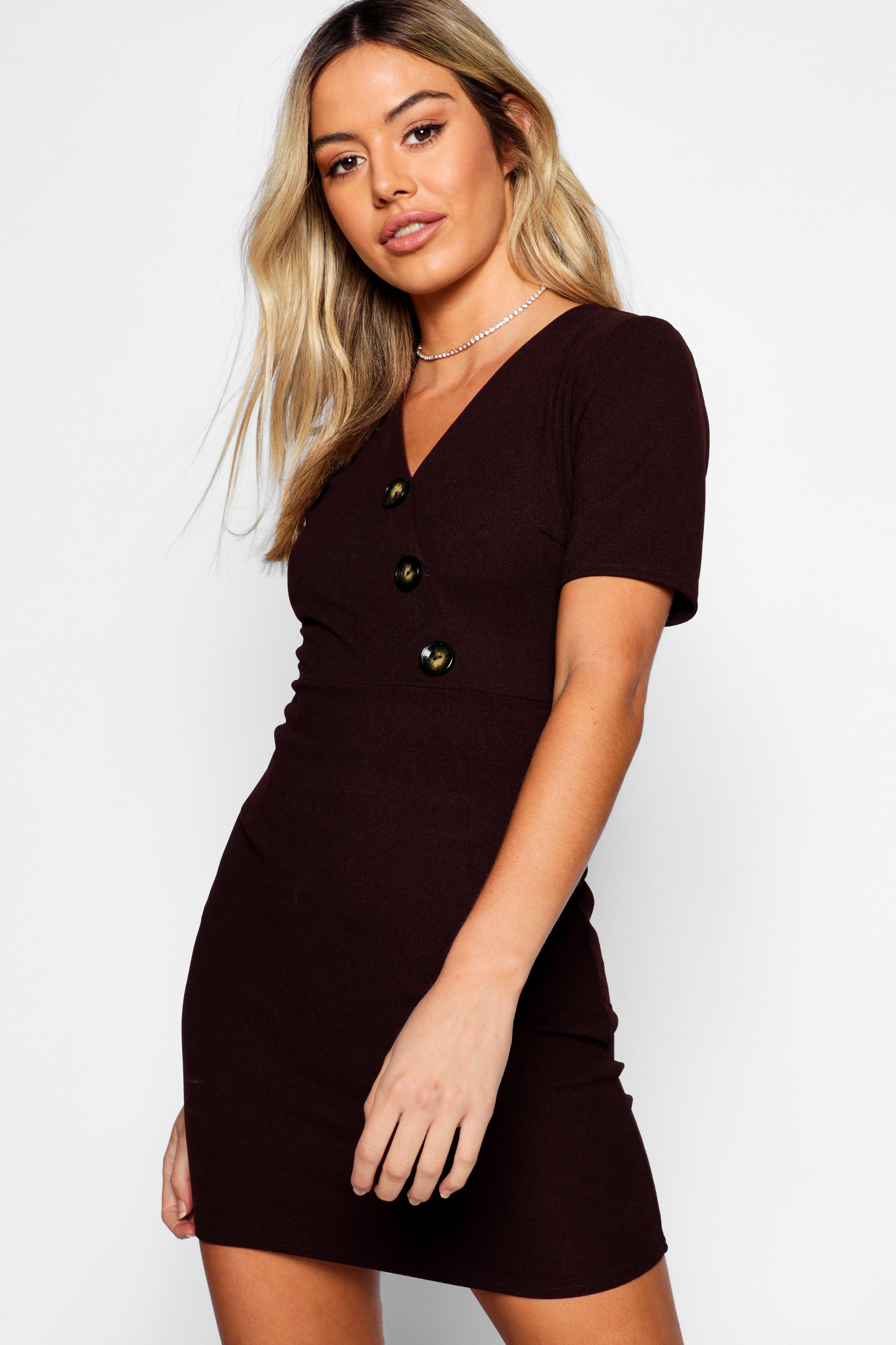 808565f0a5 Boohoo Petite Button Detail V-neck Dress in Brown - Lyst