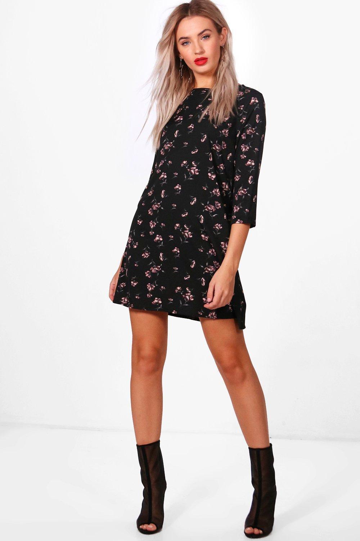 d1173667c127 ... Black Floral Printed Shift Dress - Lyst. Visit Boohoo. Tap to visit site