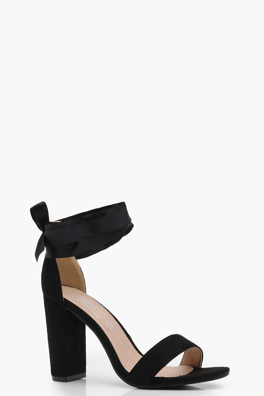 f5bf5be879b Boohoo Block Heel Ribbon Tie Up Heels in Black - Lyst