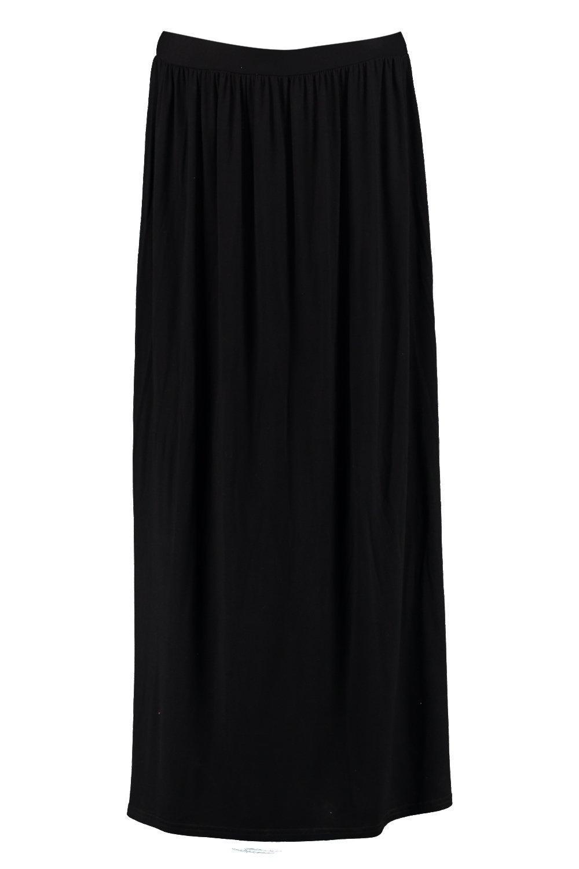 a6f8c71f2c Boohoo Petite Melly Floor Sweeping Viscose Maxi Skirt in Black - Lyst