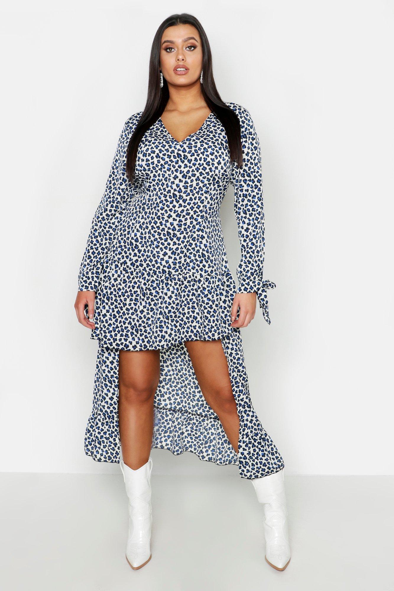 bd1f4e2506 Boohoo Plus Leopard Ruffle Step Hem Maxi Dress in Blue - Lyst