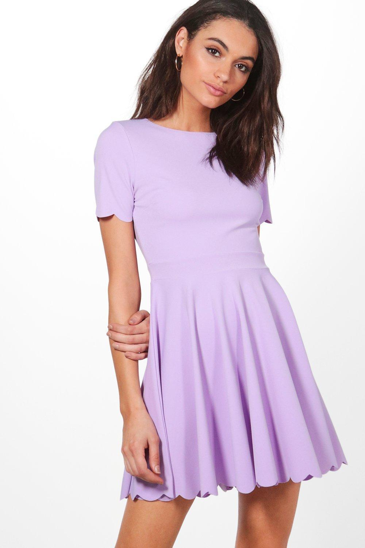 Lyst - Boohoo Scallop Detail Skater Dress in Purple