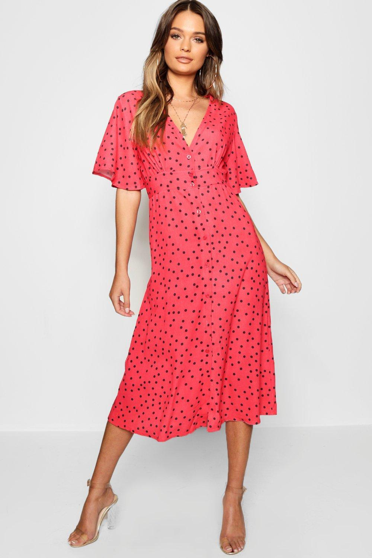 f98629b9d010a Boohoo Button Through Polka Dot Midi Dress in Red - Lyst