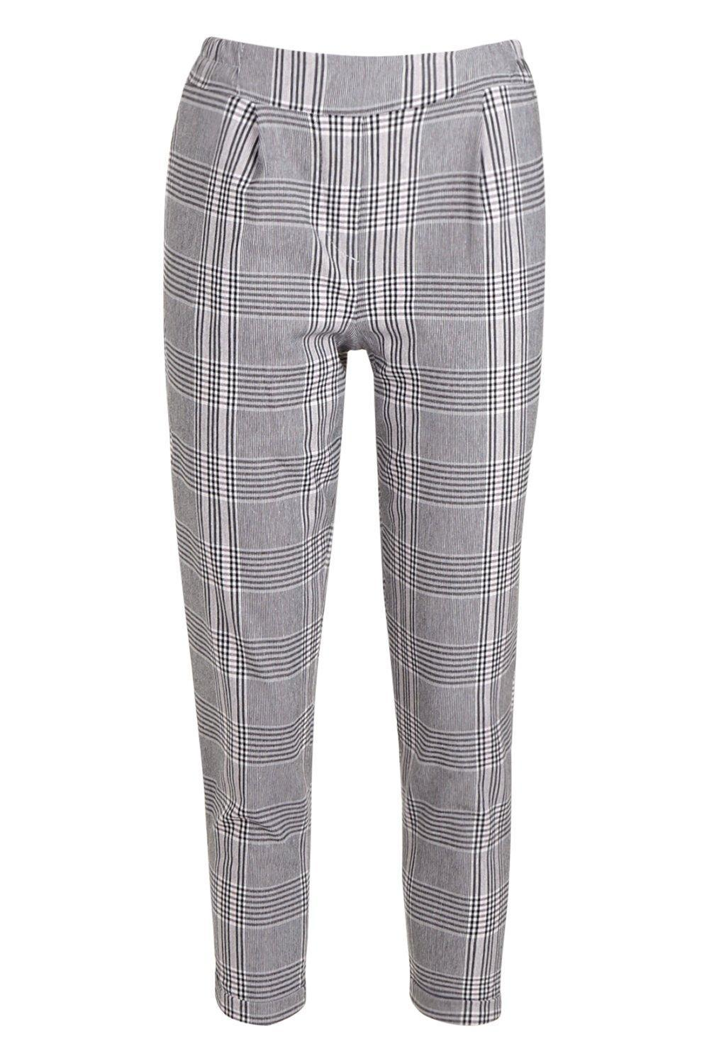 a0e9a63f8e Boohoo Prince Of Wales Check Tapered Pants in Gray - Lyst