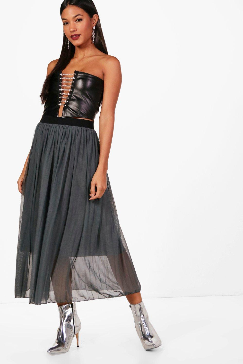 d47037ac3b Lyst - Boohoo Boutique Tulle Pleated Midi Skirt in Gray