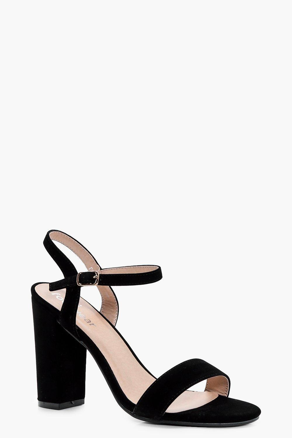 6bff88690a9 Lyst - Boohoo Block Heel Barely There Heels in Black