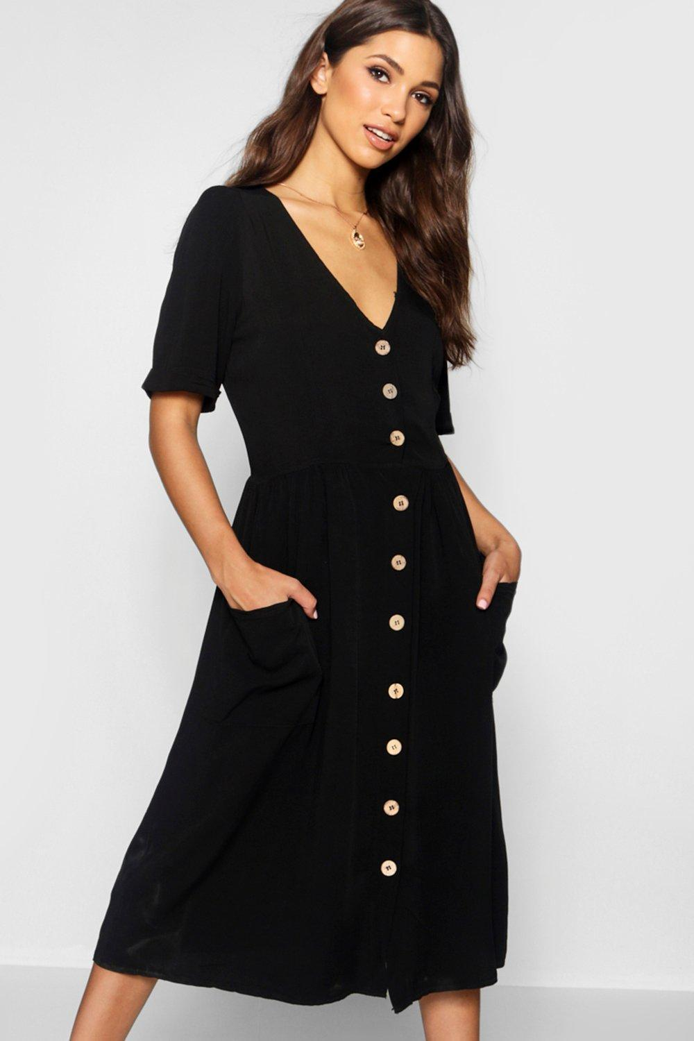 Boohoo Synthetic Womens Button Front Pocket Detail Midi ...