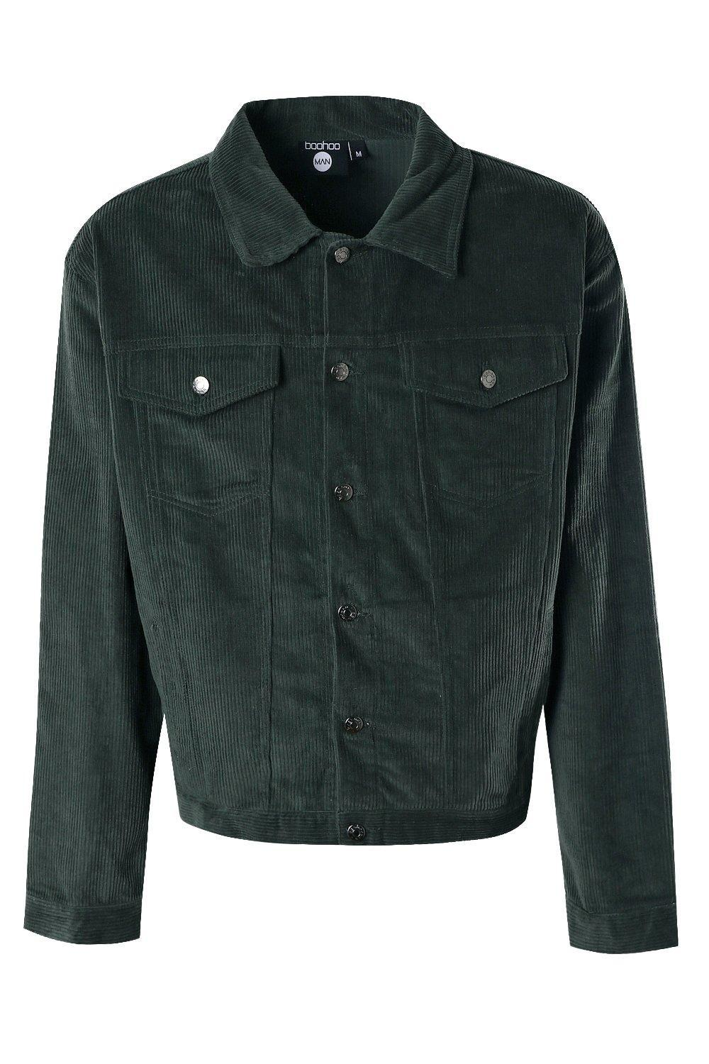 BoohooMAN Denim Oversized Cord Western Jacket in Forest (Green) for Men