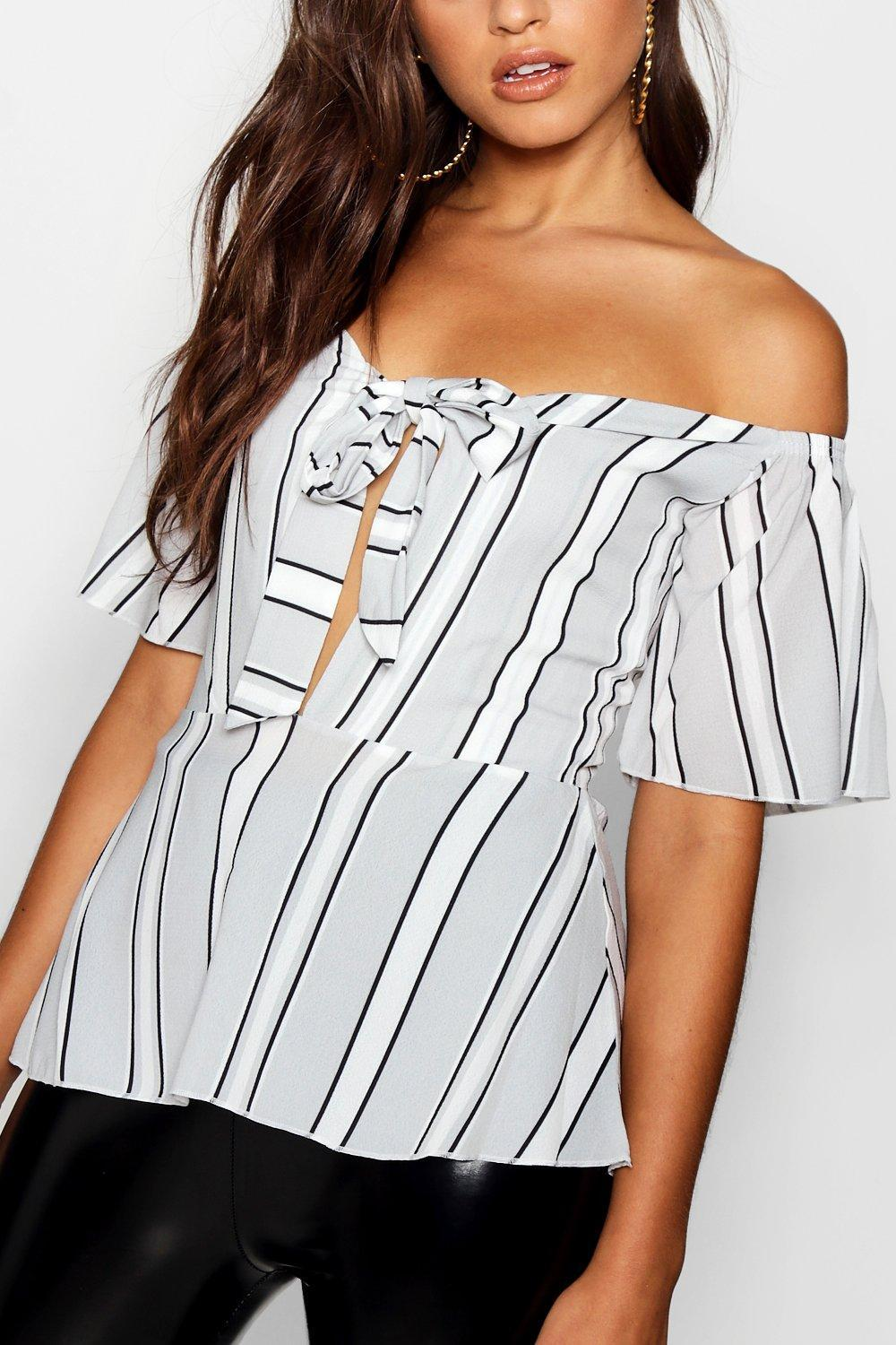 2141afb65b2ab9 Lyst - Boohoo Tie Front Peplum Stripe Woven Top in Gray