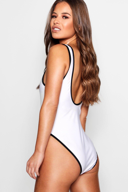 c6eecdd8037 Lyst - Boohoo Petite Contrast Binding High Leg Swimsuit in White