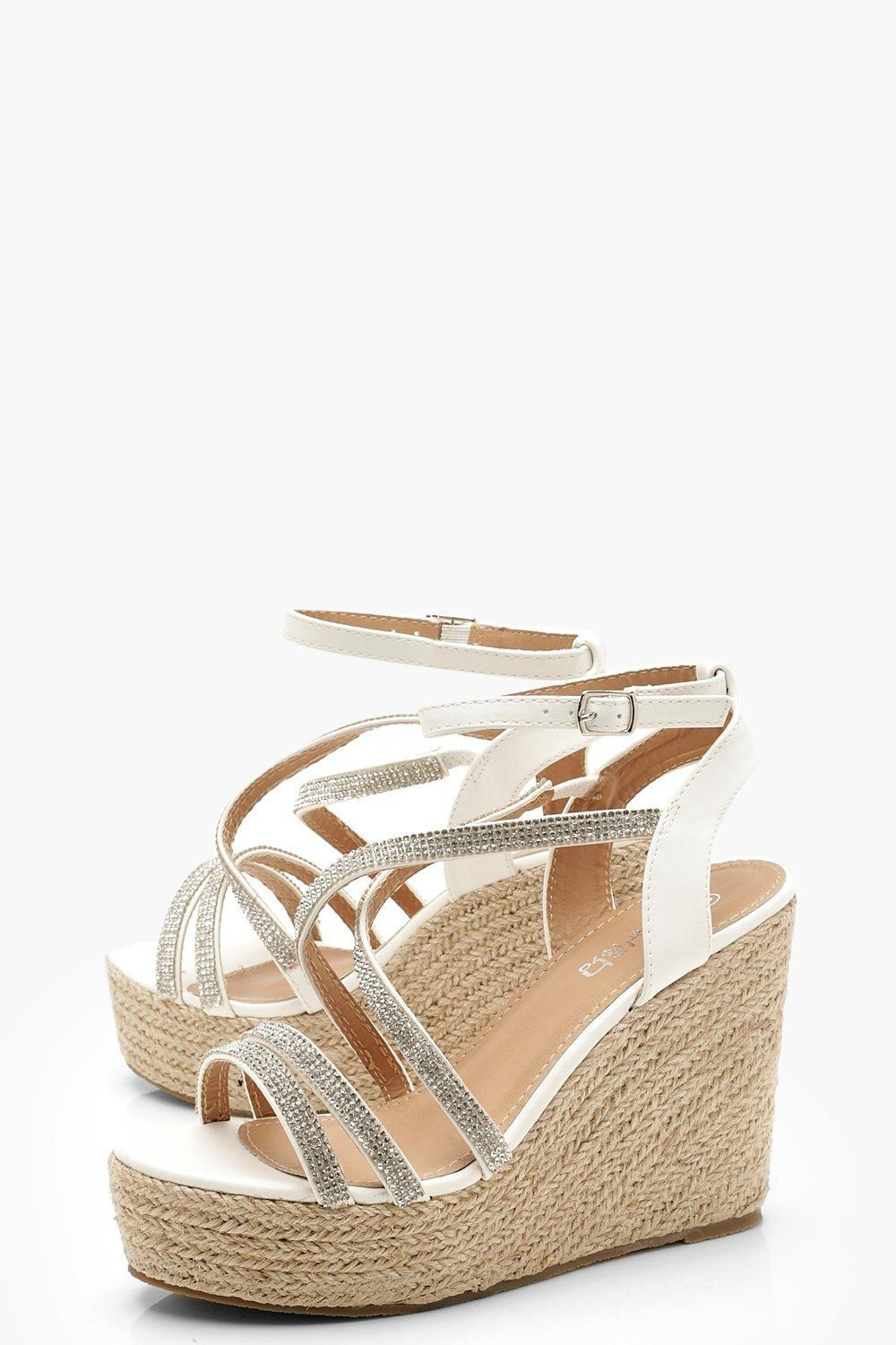 a15d3057054 Boohoo - White Diamante Strap Espadrille Wedges - Lyst. View fullscreen