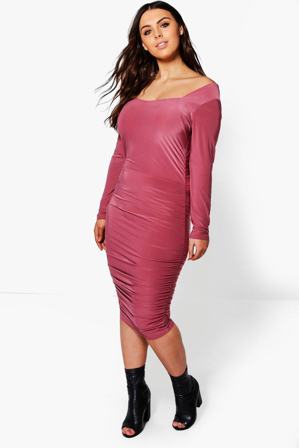3d08dfed947d Boohoo Plus Hannah Rouched Midi Dress in Pink - Lyst
