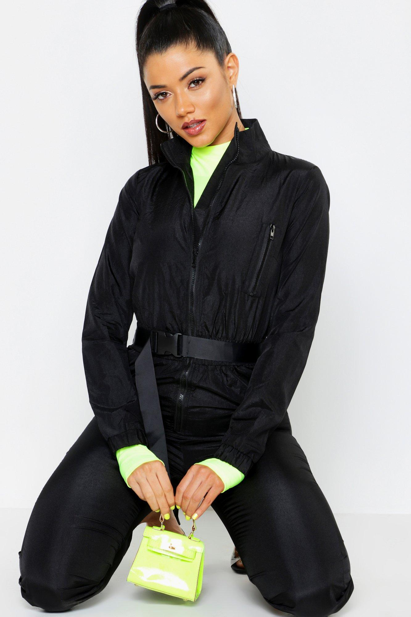 2110b4d0364 Boohoo - Black Shell Suit Safety Buckle Jumpsuit - Lyst. View fullscreen