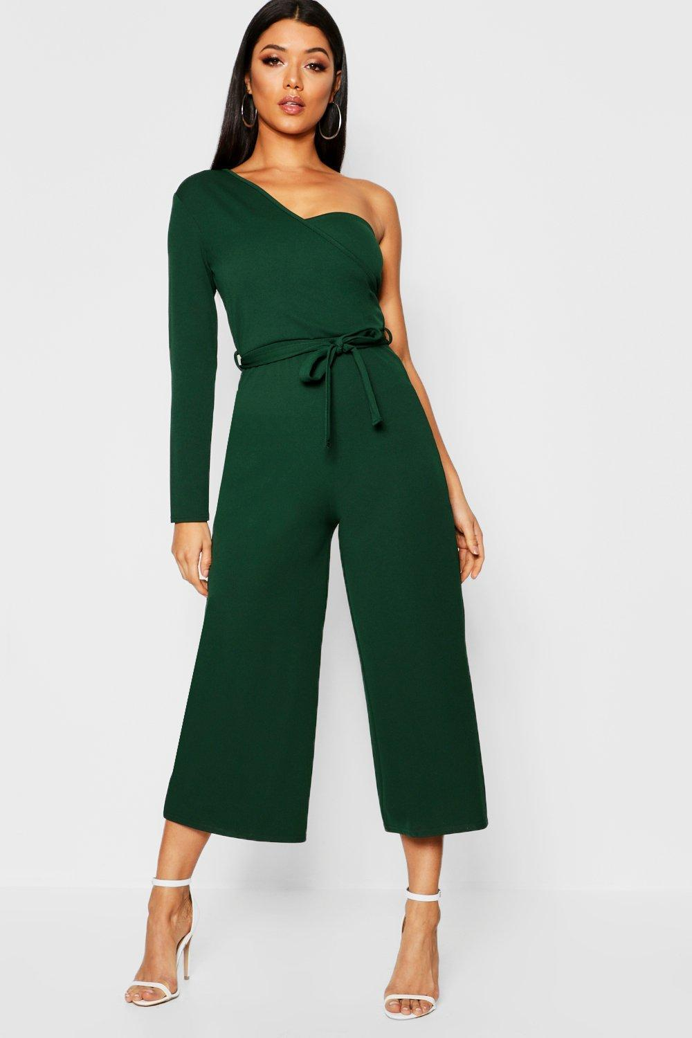 ecd7cace1c9d Boohoo One Sleeve Bustier Style Jumpsuit in Green - Lyst