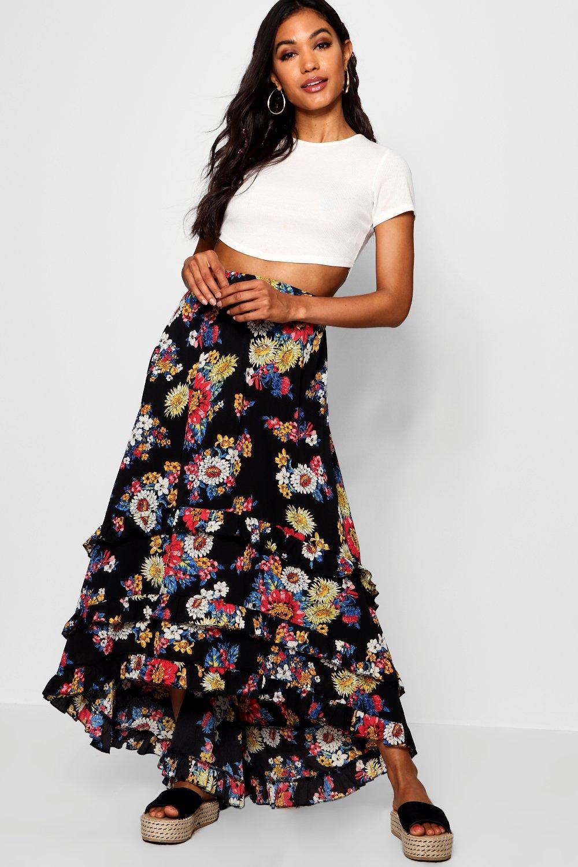f0db00121dd3 Boohoo Woven Floral Chiffon Tiered Maxi Skirt in Black - Lyst