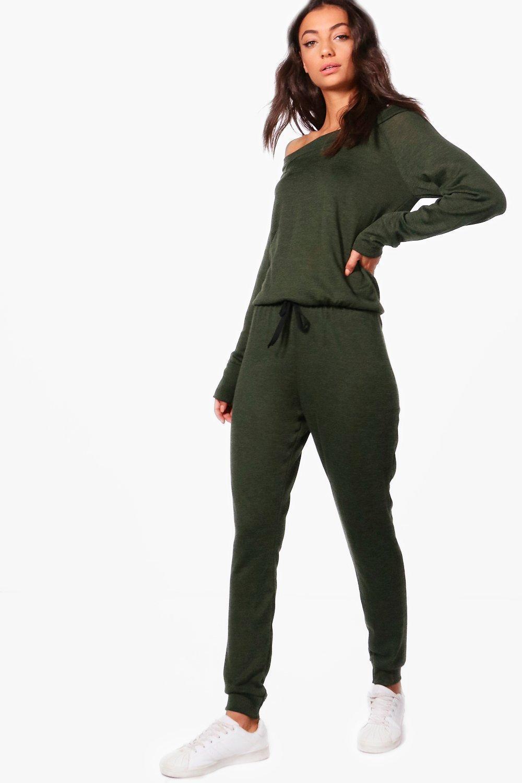 984de7fa957a Boohoo Tall Slash Neck Lounge Jumpsuit in Green - Lyst