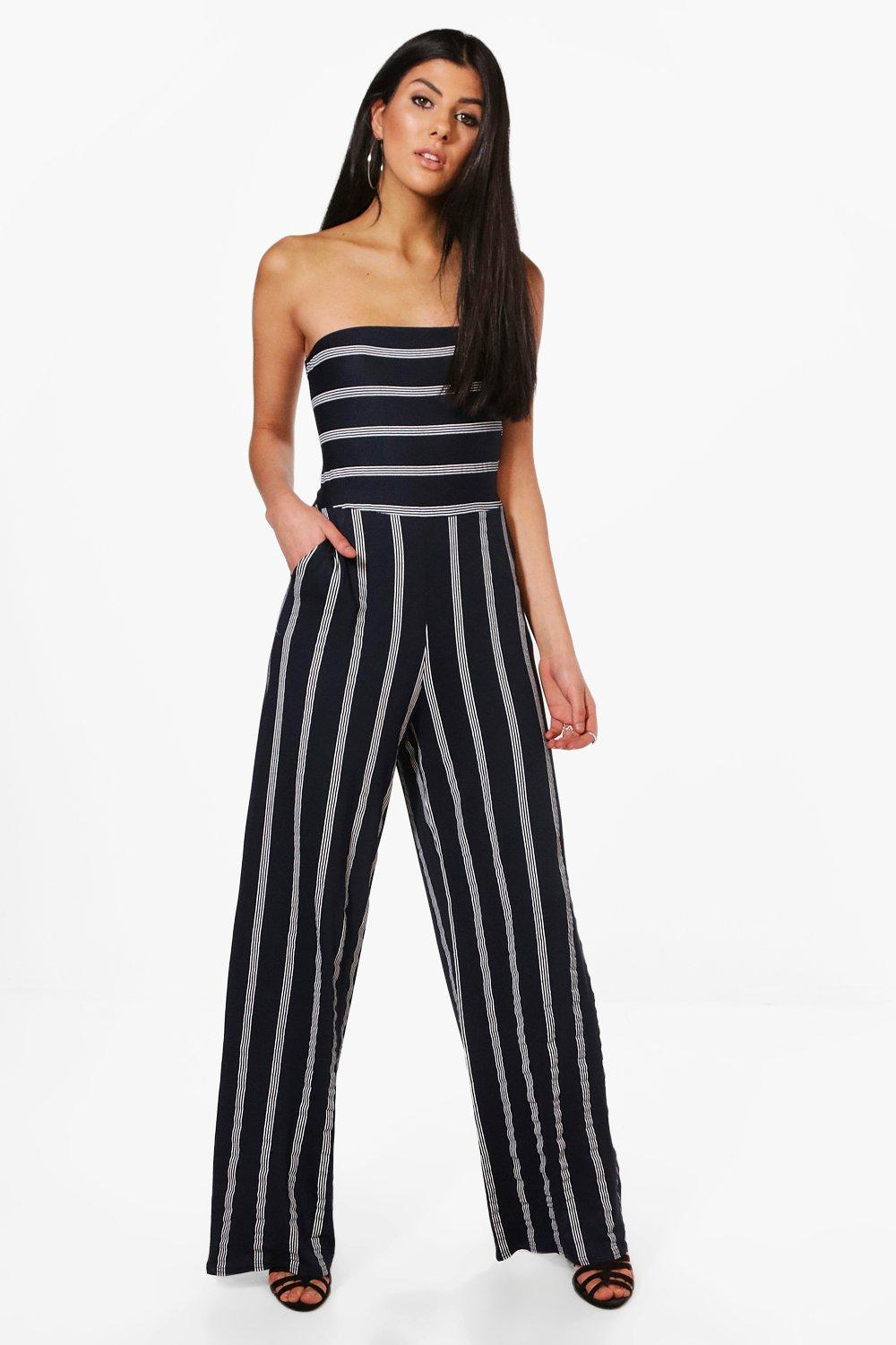 155607757bcd Boohoo Striped Bandeau Bow Back Jumpsuit in Blue - Lyst