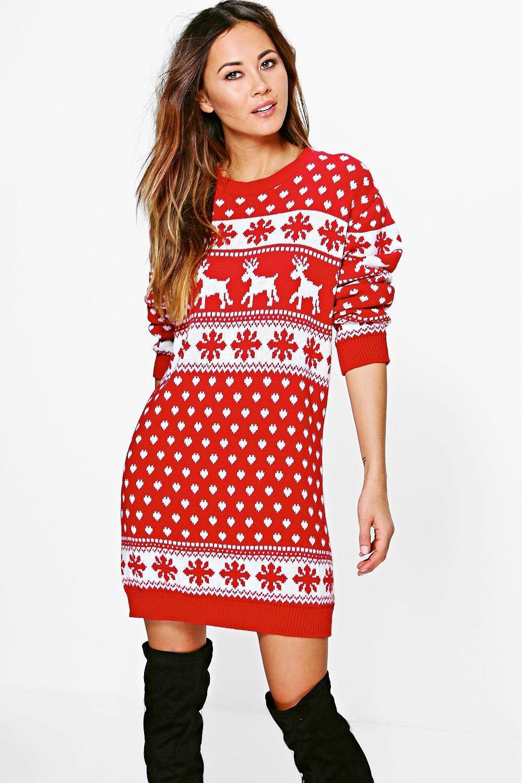 Boohoo Reindeers   Snowflake Christmas Jumper Dress in Red - Lyst d2d1638f90