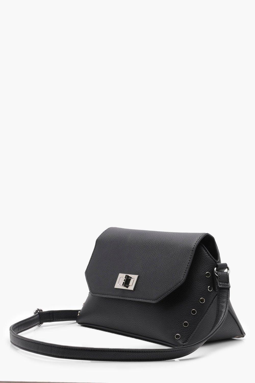 Boohoo Erin Flat Stud & Lock Cross Body Bag in Black