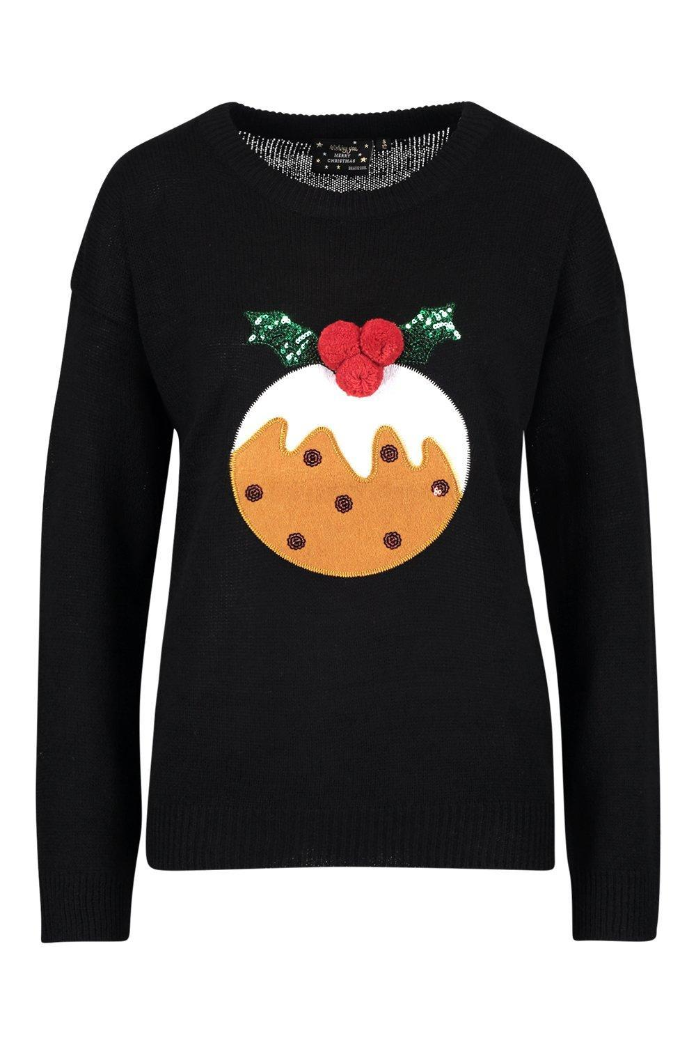 e5d68be623525 Boohoo Christmas Pudding Applique Sweater With Pom Pom in Black - Lyst