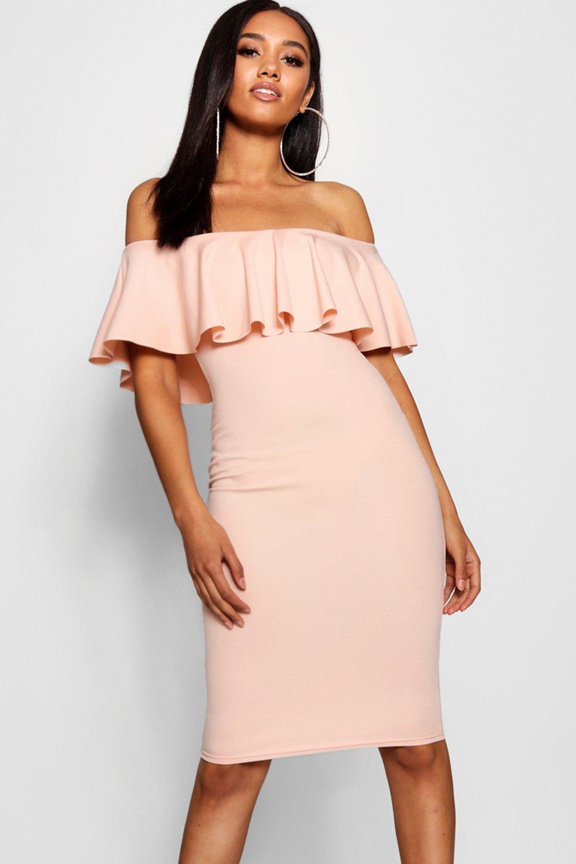 da5d4fffa466 Boohoo Petite Bardot Frill Midi Dress in Pink - Lyst