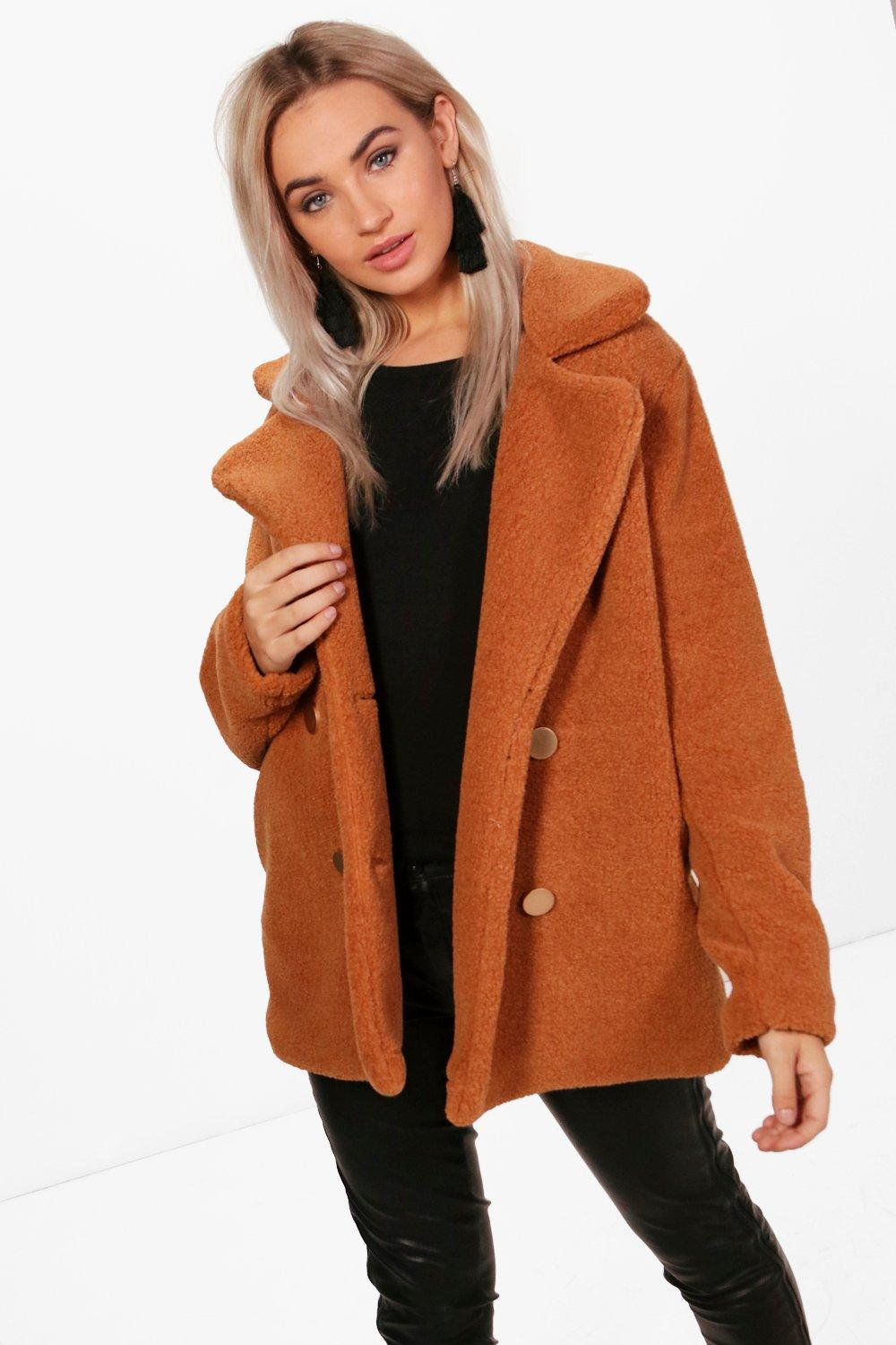 3d88eadbef Boohoo Lauren Double Breasted Faux Fur Teddy Coat - Lyst
