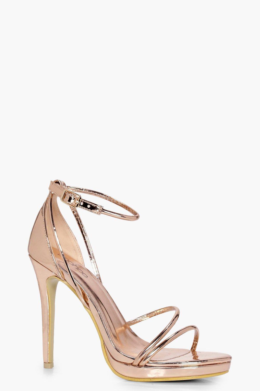 c08844b0aca Boohoo. Women s Metallic Platform Cross Strap Heels