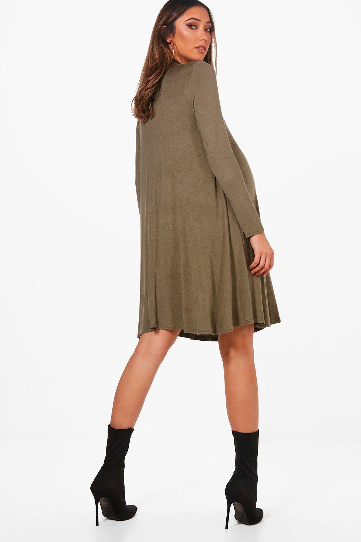 68b445f3920e ... Maternity High Neck Long Sleeve Swing Dress - Lyst. View fullscreen