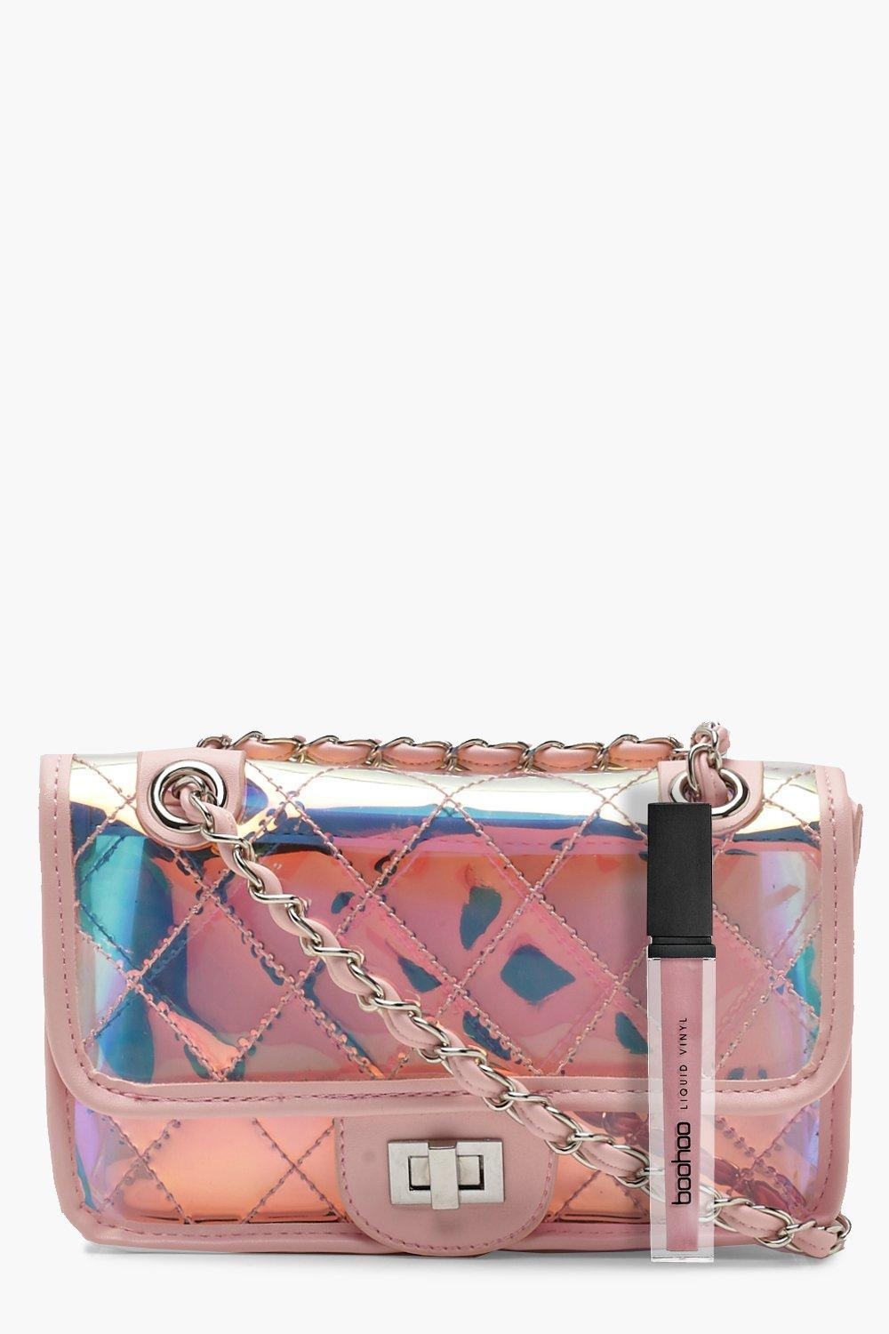 Boohoo Holographic Clear Quilt Cross Body in Pink