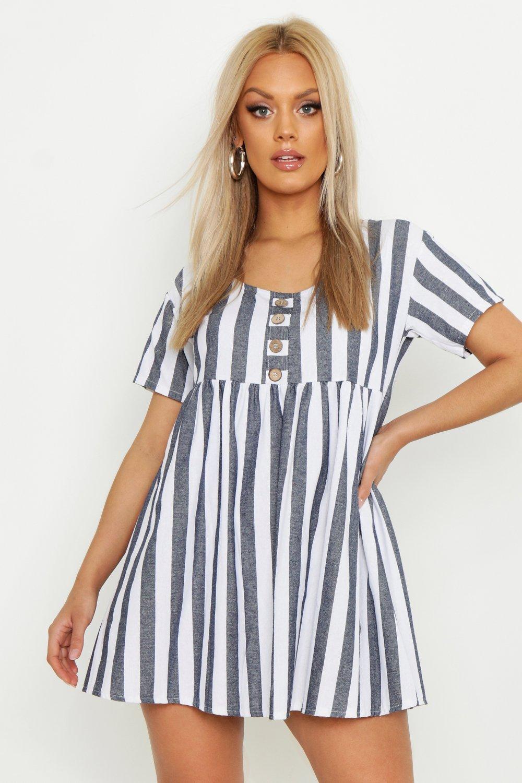 2bfac42085 Boohoo Plus Striped Smock Dress in Blue - Lyst