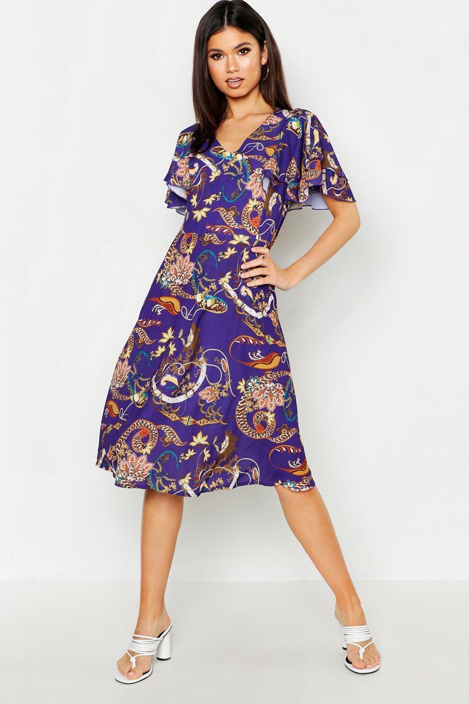 541ae470bd24c Boohoo Satin Angel Sleeve Midi Dress in Purple - Lyst