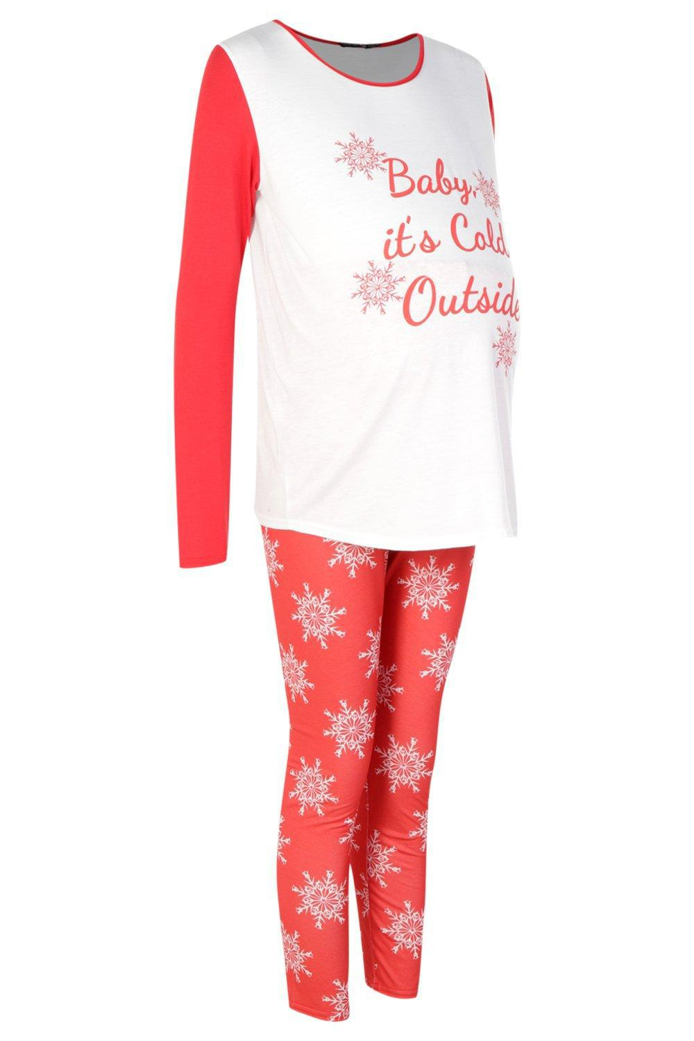 6376988170f91 Boohoo Maternity Baby It's Cold Outside Pyjama Set in Red - Lyst