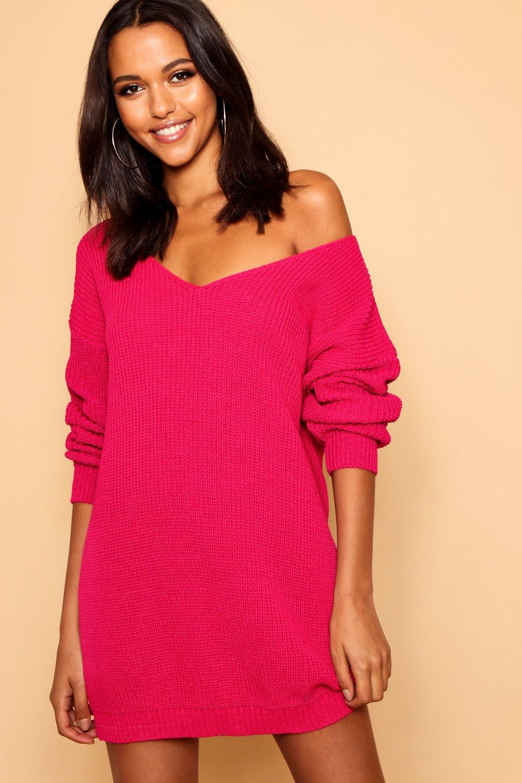 Boohoo V Neck Jumper Mini Dress in Pink - Lyst 429101d2e