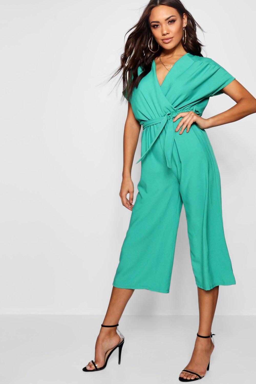 44efdc194fd7 Boohoo. Women's Wrap Tie Detail Culotte Jumpsuit