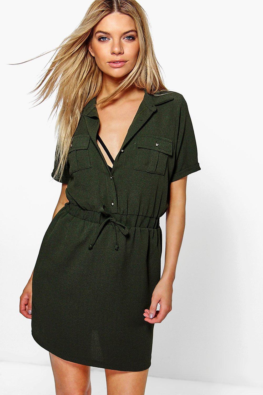 Lyst - Boohoo Daisy Tie Waist Shirt Skater Dress in Green 89ae2ff0d